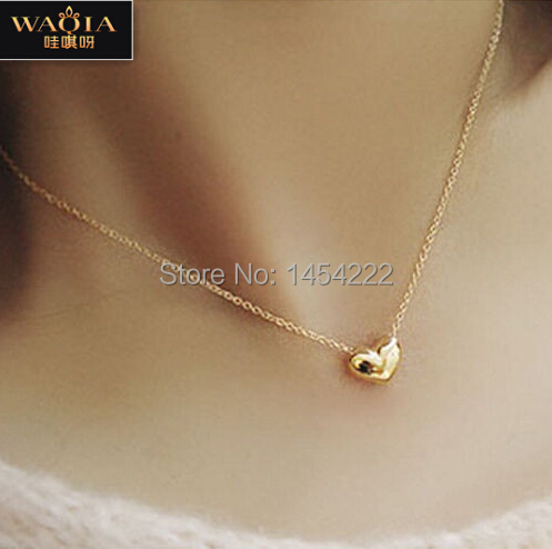 2015 Pretty Gold Plated Heart Womens Bib Statement Chain Jewelry Necklace Good quality romantic heart pendant necklace for women(China (Mainland))