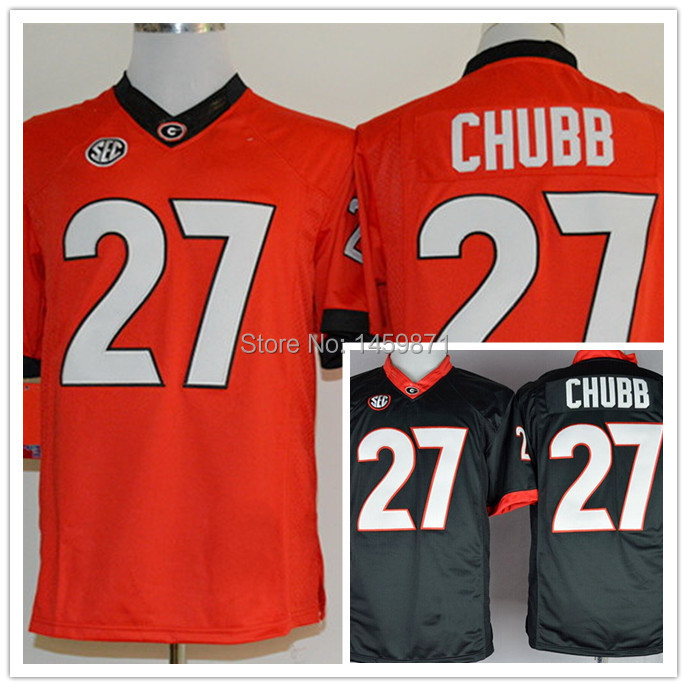 2014 Newest College Jersey 27 Nick Chubb Jersey Red/Black/White Georgia Bulldogs Jersey Limited,Size 48--56,Best Quality(China (Mainland))