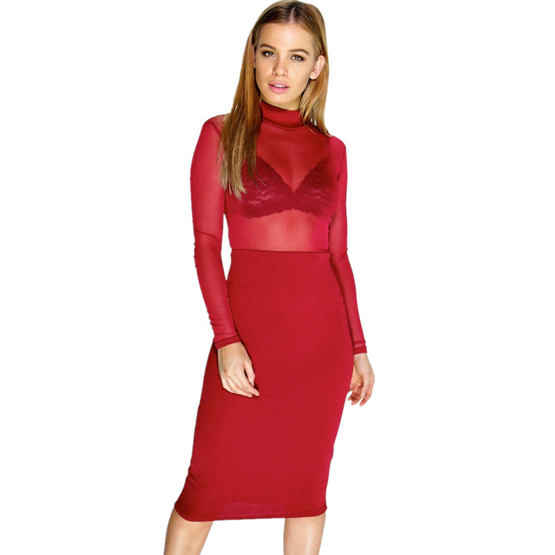 GD227 Womens Sexy Marsala Red Mock Neck Long Sleeve Sheer Mesh Top Bodycon Dress Mini Club Dresses(China (Mainland))