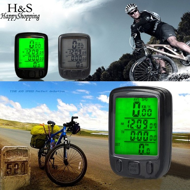 2016 Waterproof Bicycle Bike Cycle Wireless LCD Digital Computer Speedometer Odometer LED Green/White Backligh Free Shipping(China (Mainland))