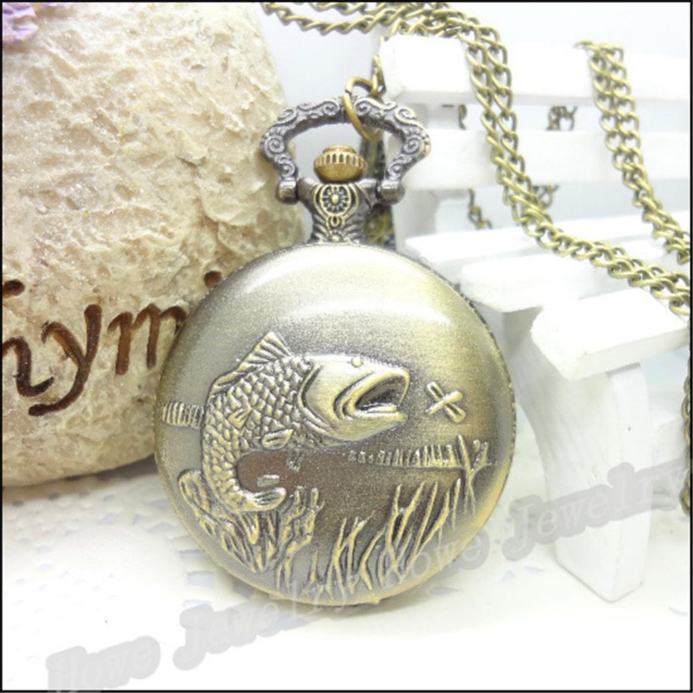 Гаджет  New Fashion Brand Steam Punk Mechanical Pocket Watch Carved Fish Ancient Bronze Chain Mens Watches Women Best Love JewelryGift None Часы