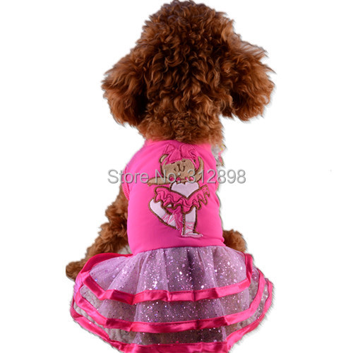 Pink Blue Summer Ballet Bling Tulle Pet Wedding Party Dress For Puppies Animals PT70 XXS/XS/S/M/L Chihuahua Cat Clothes For Dogs(China (Mainland))
