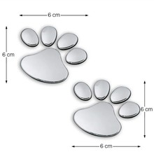 metal sticker for  3D dog paw paws footprint car stickers decorative decals car rental car styling footprint shape Sticker(China (Mainland))