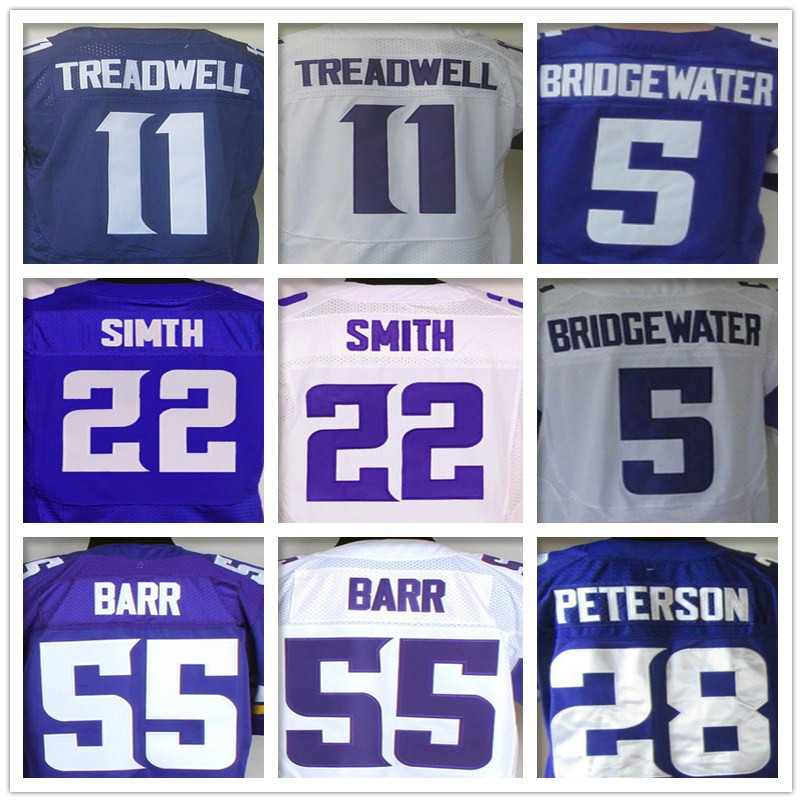 11 Laquon Treadwell 28 Adrian Peterson 5 Teddy Bridgewater 55 Anthony Barr 22 Harrison Smith jersey(China (Mainland))