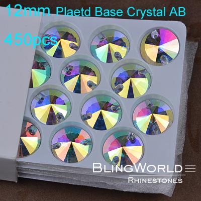 Bright luster Round Shape Plated Base 450pcs 12mm Bulk Packing Crystal AB Flatback Sewing Rhinestones(China (Mainland))