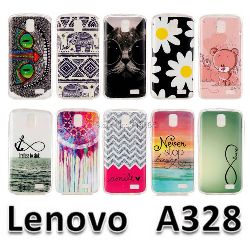 A328T A 328 Luxury Quality Soft IMD TPU Silicone Protective Phone Bags Case for Lenovo A328 Cover Rilakkuma Elephant Cat Design(China (Mainland))