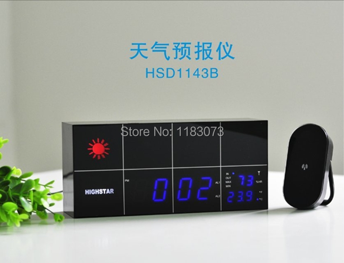 Indoor Outdoor LED RF Wireless Digital Weather Station Temperature Humidity Remote Sensor Clock Weather Forecast Free Shipping(China (Mainland))