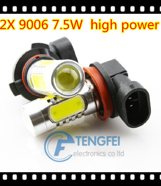 2 X 9006 7.5W High Power HB4 Car LED Headlight Super Bright Auto Fog Lamp COB 12V XENON White Bulbs FREE SHIPPING(China (Mainland))