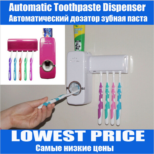 Free Shipping New Automatic Toothpaste Dispenser Toothbrush Holder sets,toothbrush Family sets White Red Color