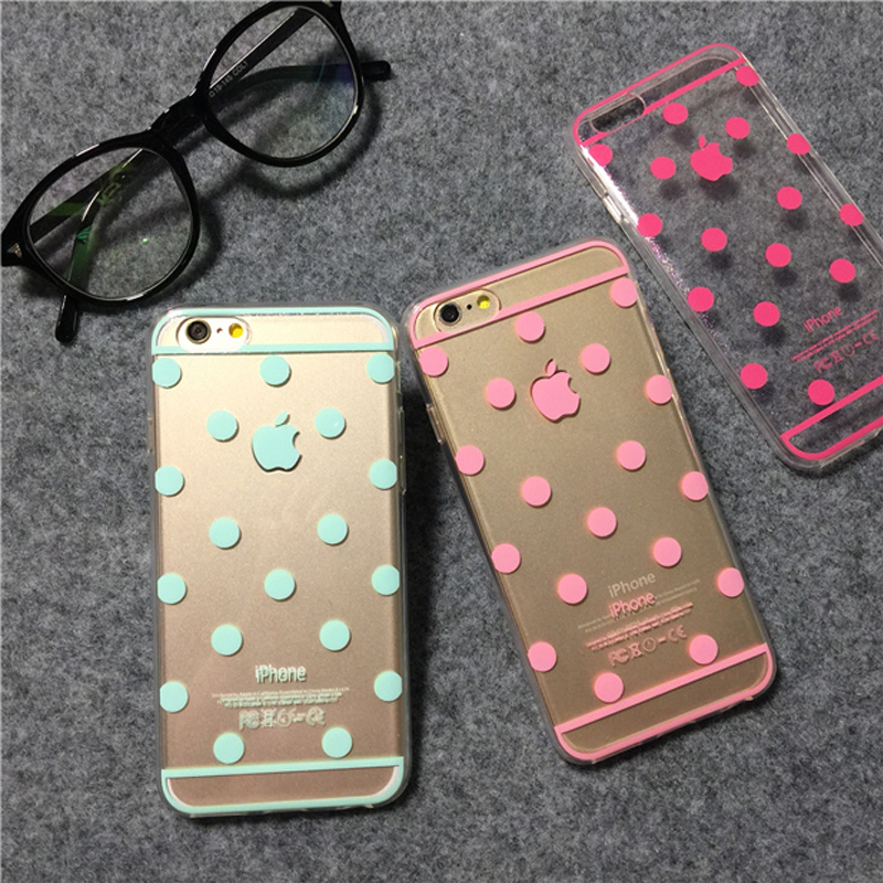 Korea Glitter Bling polka dot Case For iphone 6 6s 6 plus 5 5s Candy transparent TPU phone case Cover fundas E104(China (Mainland))