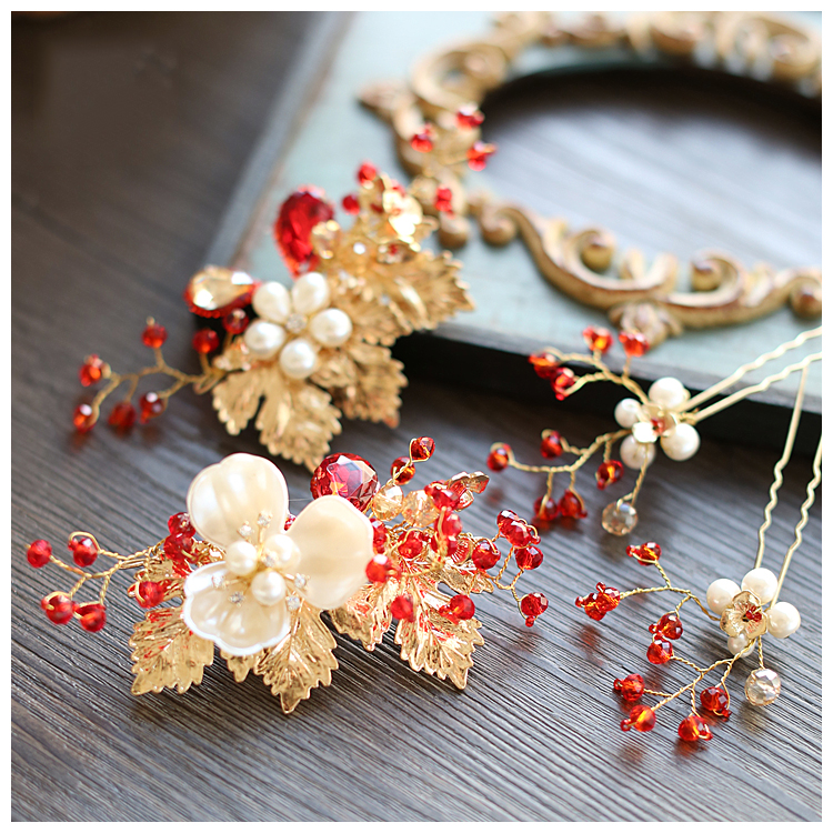 2016 gold red crystal hairpins wedding accessories bridal party jewelry rhinestone flower hair pins clips 618(China (Mainland))