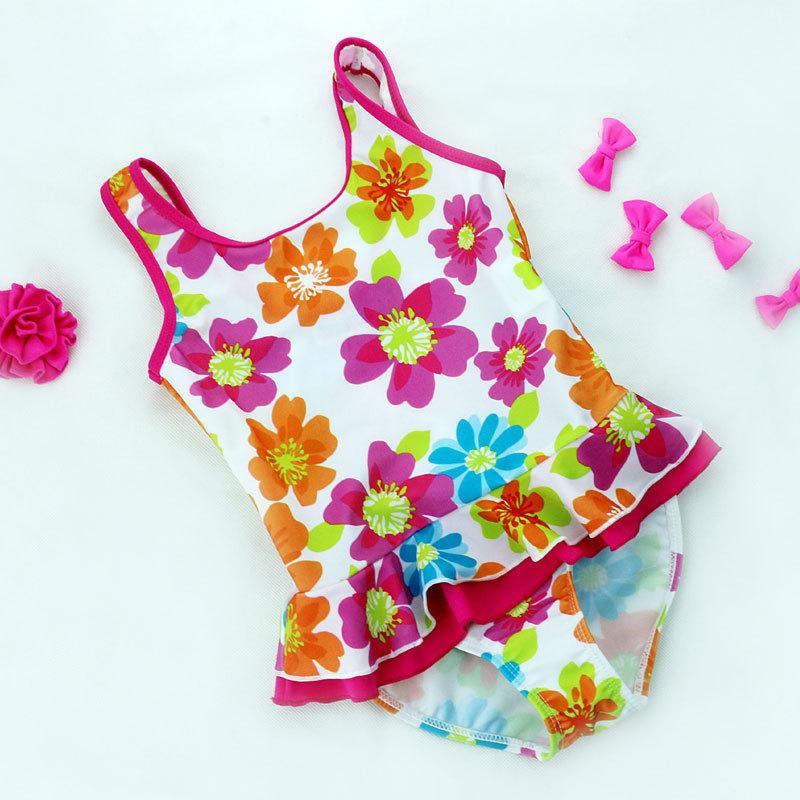 Niñas / niños una pieza bordeó florales trajes de baño ...