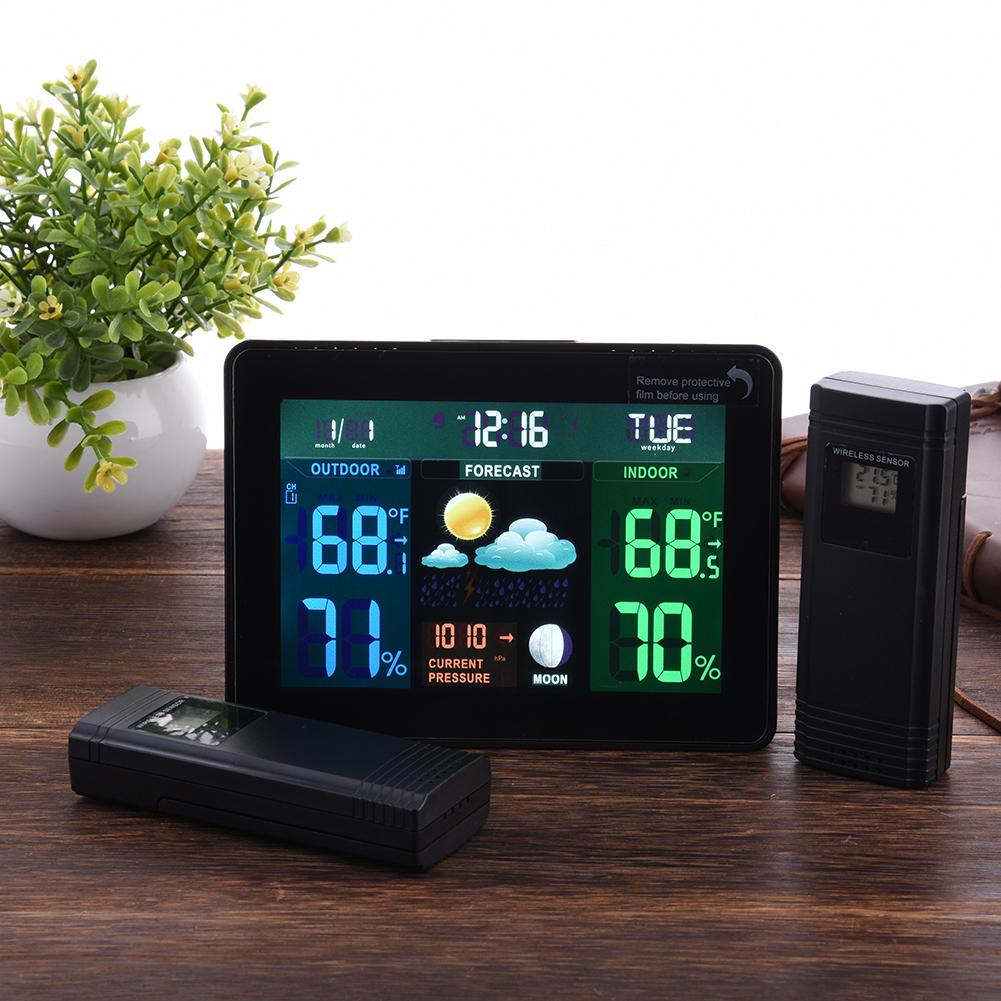 Indoor Outdoor Temperature Monitor Digital Weather Station DCF77 RCC Thermometer RH% Barometric Pressure 2 Wireless Sensor(China (Mainland))