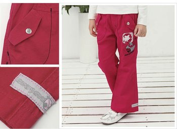 Freeshipping spring autumn red black children child girl kids baby lady casual loose sports cotton  pants trousers PLAQS2216