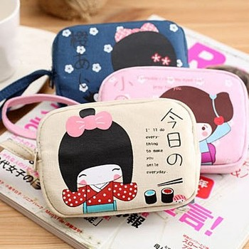 Small coin case canvas mobile phone bag cell phone pocket canvas coin purse key wallet
