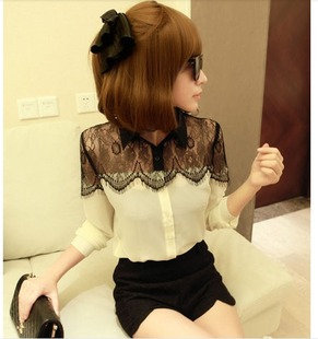 2015 Hot Spring Chiffon Blouses Women Fashion Black Lace Patchwork Long-sleeve Shirts Plus Size Shirt Tops LSP8001 - Beauty Your World store