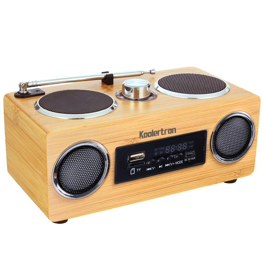Koolertron Eco-friendly Hand-made Mini Portable Bamboo Wood Boombox Sound Card Speaker Radio Function 2016 New  -  Shenzhen koolertron Co.,Ltd. store