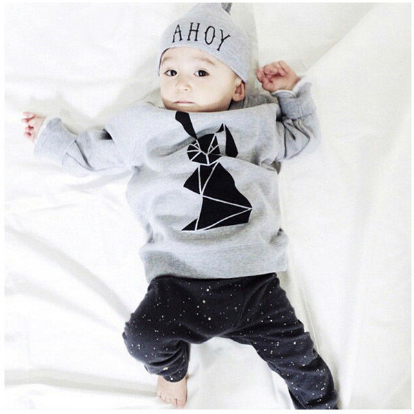 3pcs/set!2015 autumn baby clothes Kid Boy Girl Rabbit Long Sleeve T-shirt+Pants+Hat 3pcs Outfits Set