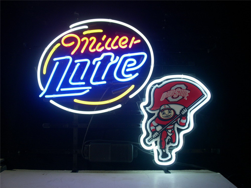 "NEON SIGN For OHIO STATE BUCKEYES BRUTUS MILLER LITE Signboard REAL GLASS BEER BAR PUB display outdoor Light Signs 17*14""(China (Mainland))"