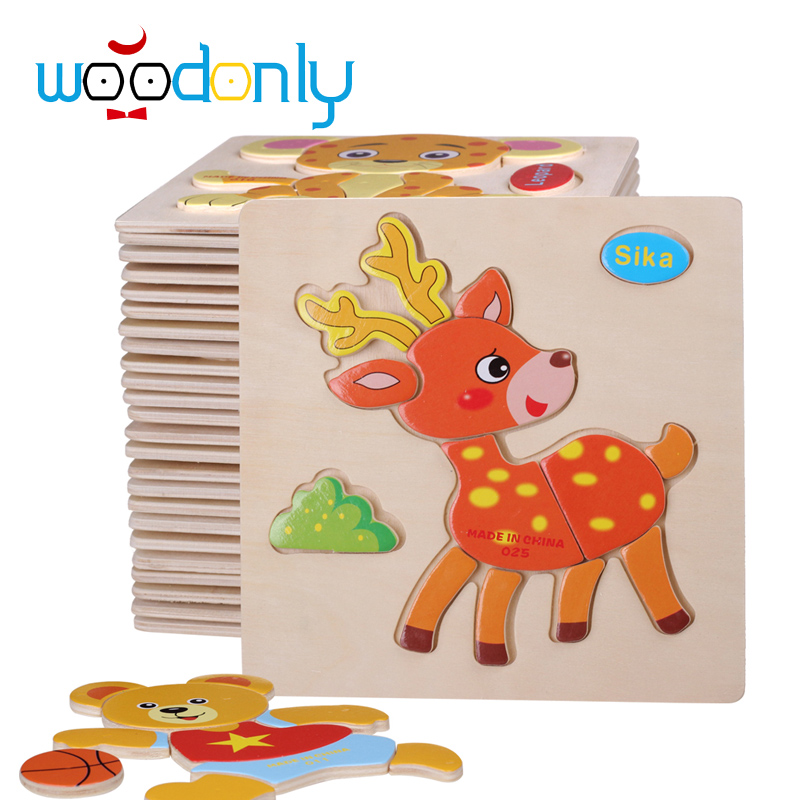 3D Wooden Puzzles Child's Jigsaw Puzzle Toddlers Educational Toys for Children Animals Shapes Jigsaw kids toy Montessori oyuncak(China (Mainland))