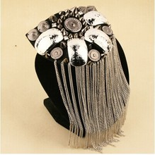 Handmade  vintage jewelery  tassel rivet  big shoulder brooch epaulet /epaulettes spikes/escapulario men blazer  accessories/pin