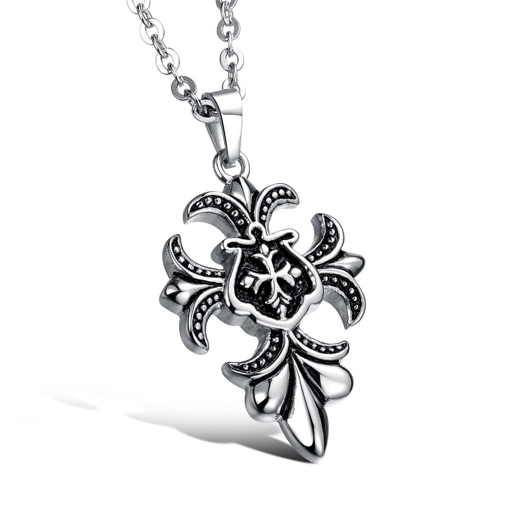 Punk Style Men Jewelry New Titanium Stainless Steel Retro Vintage Cross Flowers Sign Pendant Necklace Link Chain GX936(China (Mainland))