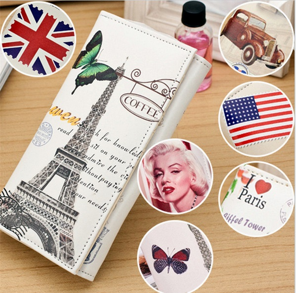 1 X Woman Girls Soft PU Leather Printing Retro Long Purse Bag Clutch Wallet Card Coin Holder Vintage Bag 12 Patterns(China (Mainland))