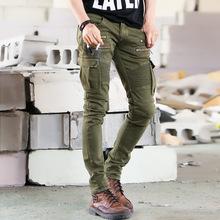 2016 Green Designer Men Black Biker Jeans elastic Mens Slim Fit Stretch Skinny Pants Denim Biker Jeans Runway(China (Mainland))