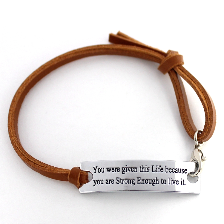 Brown Genuine Leather printed words you are given this life because you are strong to Live It Handmade Cuff Wristband Bracelet(China (Mainland))