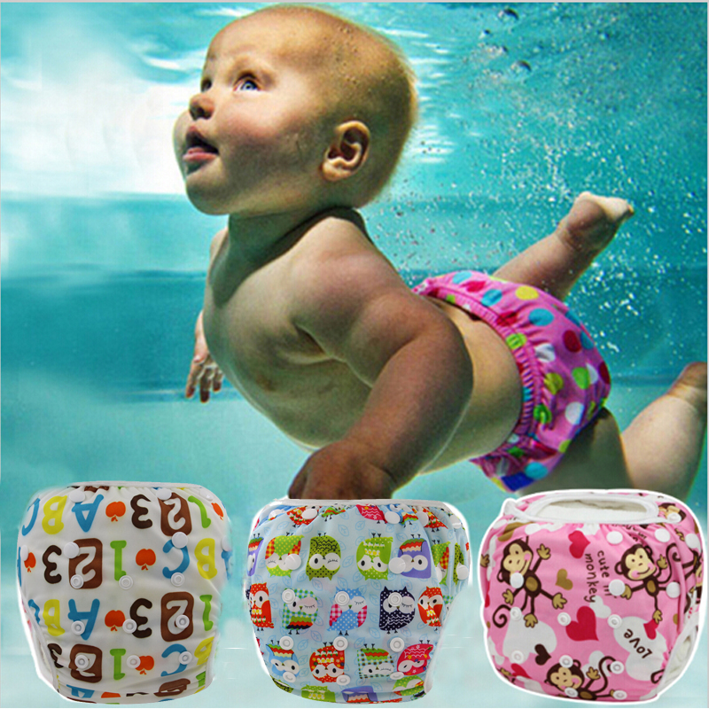 Unisex One Size Waterproof Adjustable Swim Diaper Pool Pant 10-40 lbs Swim Diaper Baby Reusable Washable Pool Cover 10 Color(China (Mainland))
