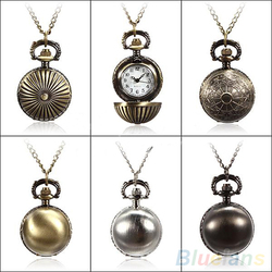 Min. 16 5 Colors Antique Retro Vintage Ball Metal Steampunk Quartz Necklace Pendant Chain Small Pocket Watch For Gift 02CU
