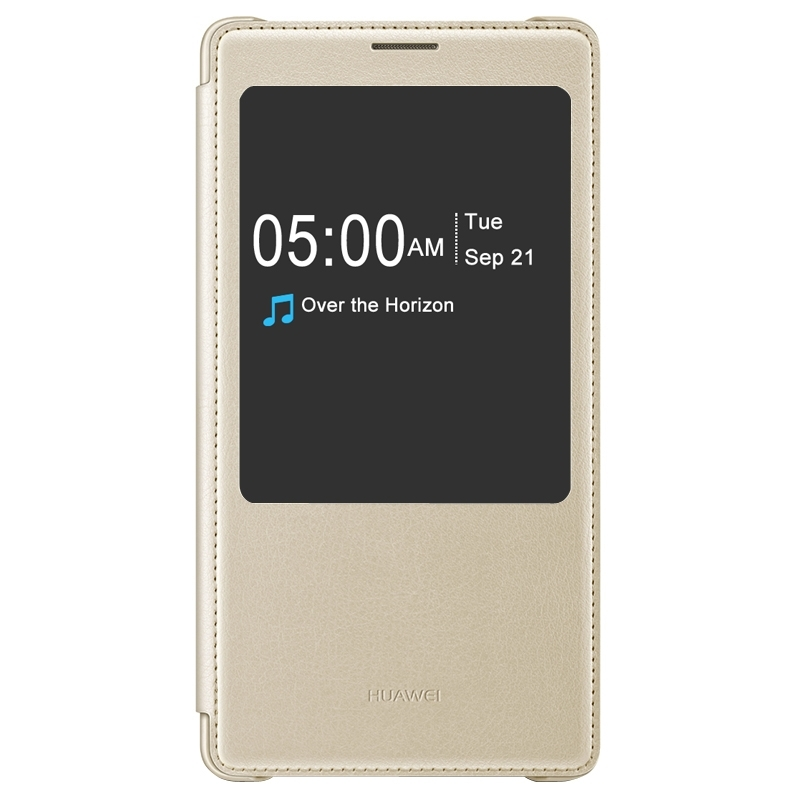 Original Horizontal Flip Solid Color Leather Case with Caller ID Display & Sleep / Wake-up Function for Huawei Mate 8(Gold)(China (Mainland))