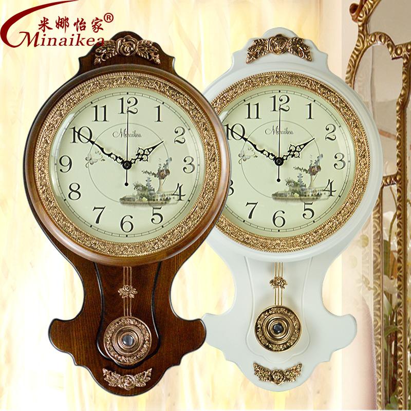 european antique wood wall clock creative living room mute