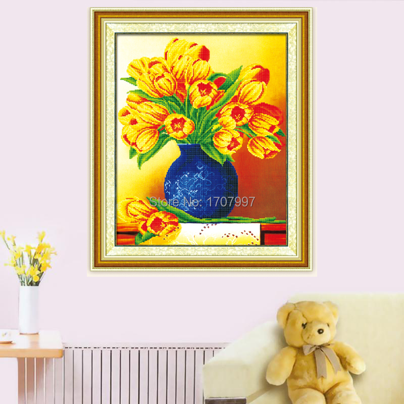 NEW DIY Crystal Flower Diamond painting 3D non-full embroidery handicraft picture 50*70CM Diy painting QT6322 gifts&crafts(China (Mainland))