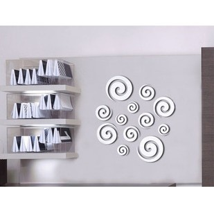 Home decoration modern design!Mirror effect whirl wall stickers,3D interior ornamentation living room,!F83 - Time Art Gallery----Bring walls to your life ! store