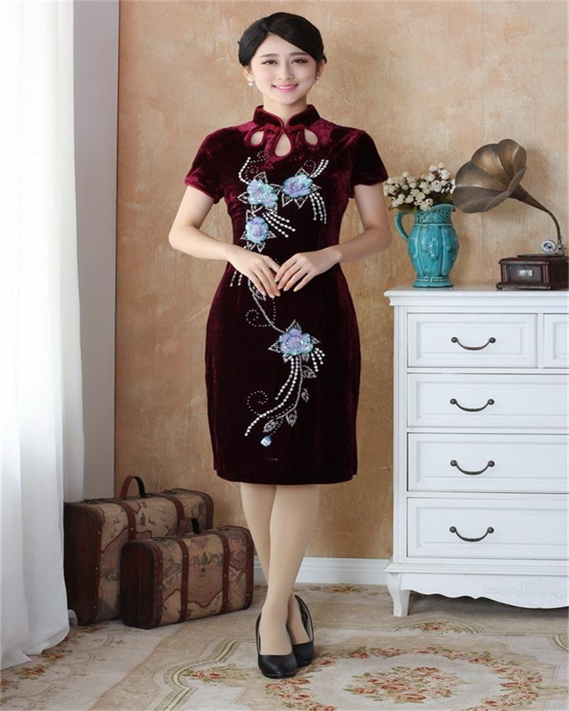 NEW Chinese Tradition Womens Beaded Embroidery Silk velvet  Long Qipao Cheong-sam Evening Dress S M L XL XXL  YS04Одежда и ак�е��уары<br><br><br>Aliexpress