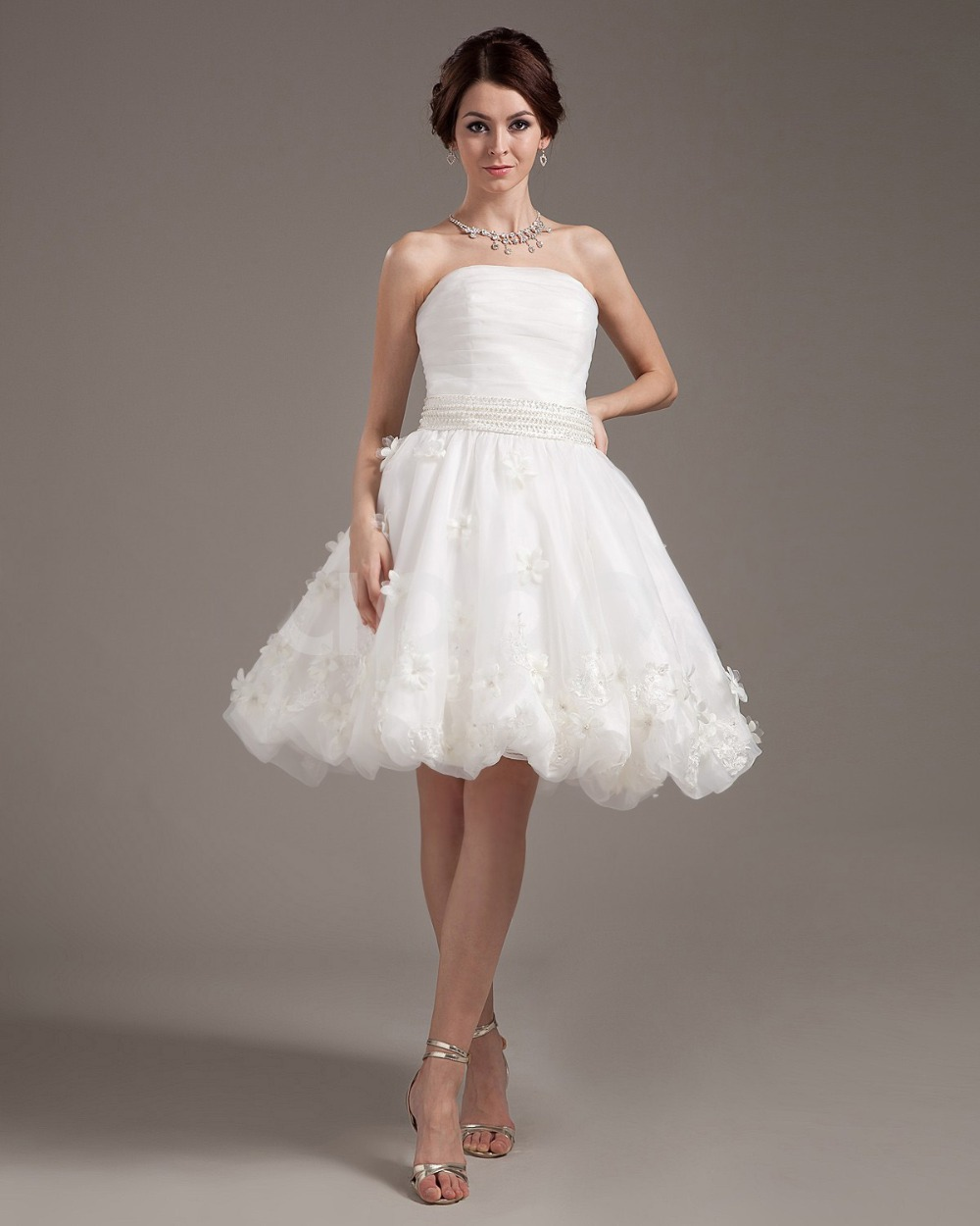 Hot sale elegant strapless pearls applique knee length for Wedding dress for a short bride