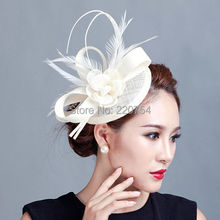 Ladies cocktail fascinator flower feather sinamay fasinator women hair accessories elegant fascinators for wedding races 7COLORS(China (Mainland))