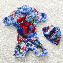 2016 Boys Fancy Jumpsuits WetSuit Surfing Suits Swimsuit Super Kids Hero Elastic Boyleg Shorts Sleeved Swimwear+Swimming Cap