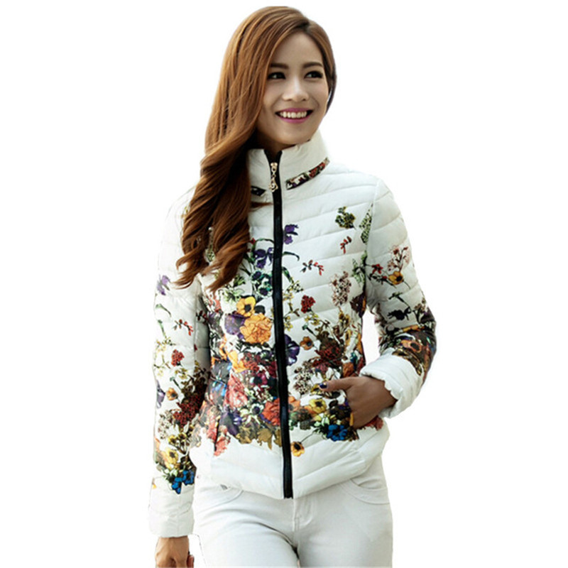Chaquetas Mujer font b 2016 b font Winter Jacket Slim Down Cotton Parkas Womens Flower Coats