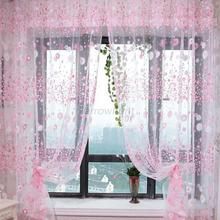 100*200CM Fashion Floral Tulle Voile Door Window Curtain Drape Panel Sheer Scarf Assorted(China (Mainland))