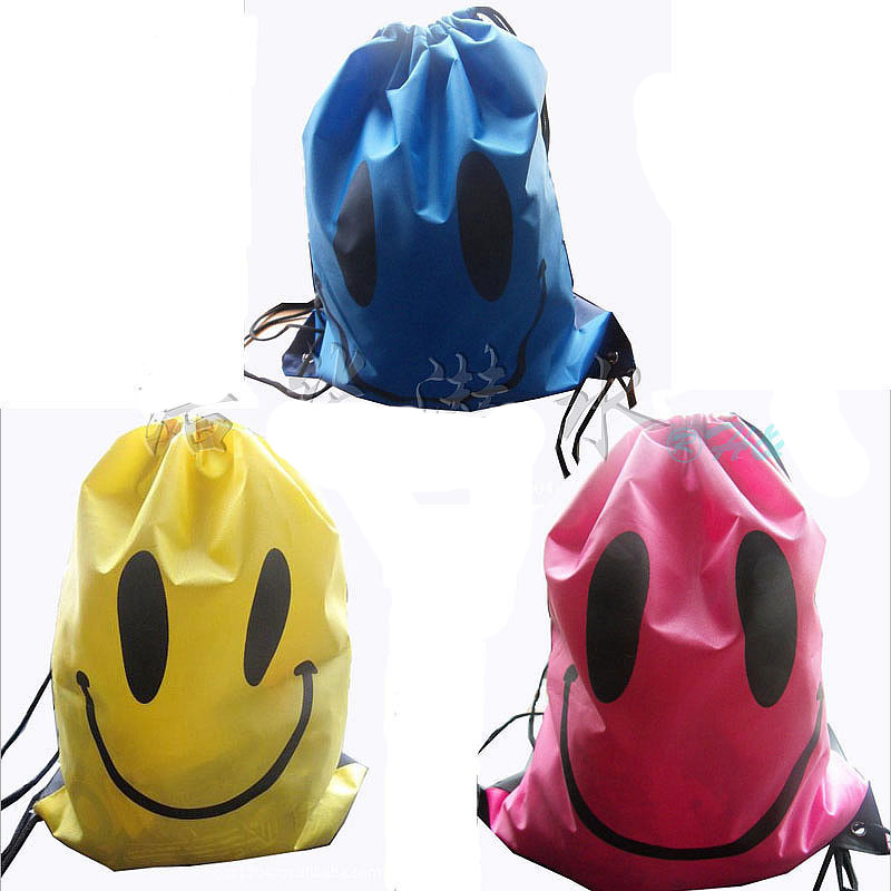 Smiley Pattern Swimming Bag Cartoon Beach Bag Portable Fodable Drawstring Storage Bag Backpack Shoes Bag Drawstring Backpack(China (Mainland))