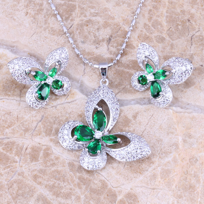 Incredible Butterfly Green Emerald White Topaz Silver Earrings Pendant Necklace Free Gift Bag Fashion Jewelry Sets S0731<br><br>Aliexpress