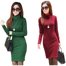 2015 Solid Thicken Winter Dress For Women Turtleneck Fleece Warm Dresses Feminino Casual Long Sleeve Plus Size Vestidos L8283(China (Mainland))