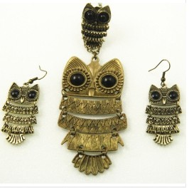 fashion owl necklace jewelry sets vintage jewlery +earring+ring - Simple one line store