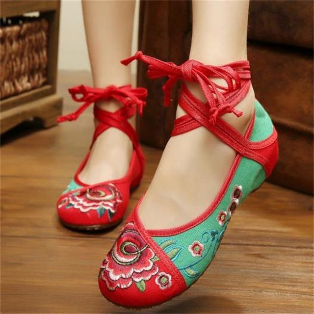 Размер холста (34-41) черный + красный + зеленый Китайский стиль цветок дышащий удобные ...