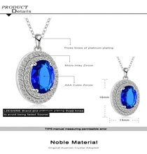 Fashionable New Platinum Plated Micro Inlay Cubic Zircon Round Pendant Necklace Wedding Pendant Jewelry CNL0063 B