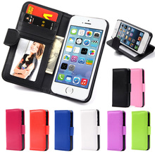 Hot Magnetic Flip Leather Case For apple iPhone 4 4S 4G Wallet PU Case with Photo Frame Card Holder Smart Stand Skin Bags Cover