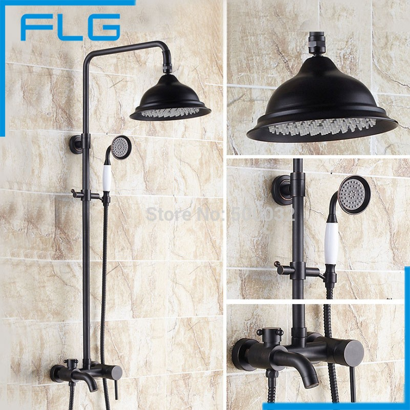 "8"" Big Blackened Shower Head Bathroom Rainfall Copper Shower Faucet Set With Slide Bar, Waterfall Shower(China (Mainland))"
