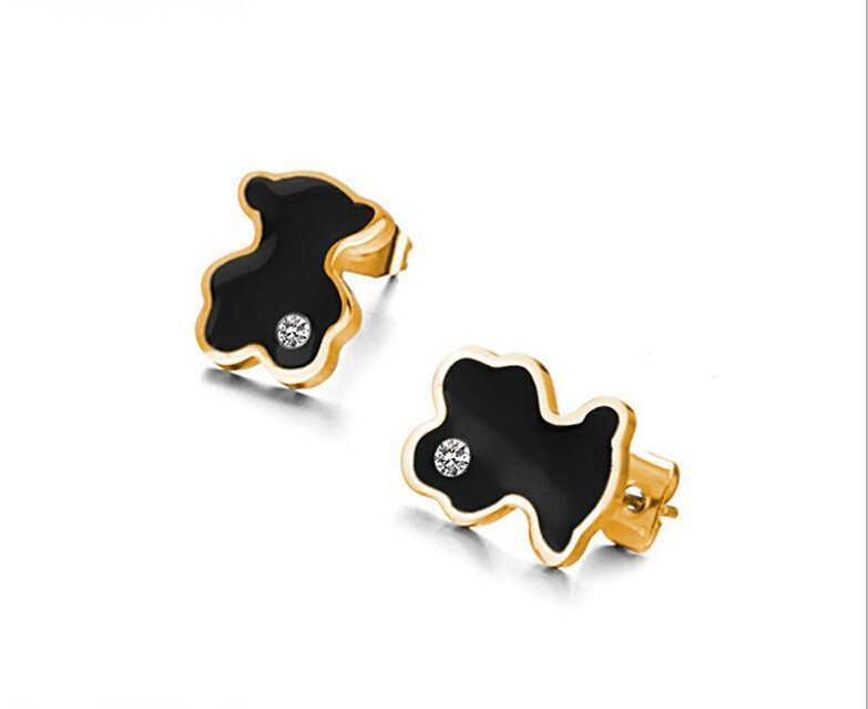 New Arrival Fashion Jewelry women's Stainless Steel Cute Black Bear Cubic Zirconia Earrings for women fine jewelry wholesale(China (Mainland))